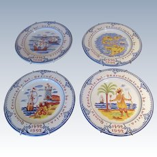 "Set Of 4 Tiffany Plates ""Discovery Of America"""