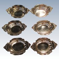 "Set Of 6 Sterling Nut Dishes ""Cromwell/Strasbourg"" By Gorham C:1928"