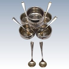 Set Of 6 Ea, Sterling Salt Keep & Spoon