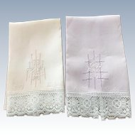 Pr. Of Linen/Lace Towels