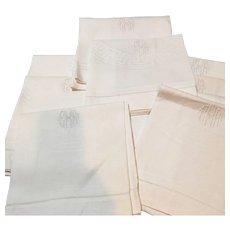 Set Of 9 Oversized European Damask Linen Towels - Red Tag Sale Item