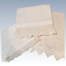 Set Of 3 Linen  Crochet And Lace Towels C:1950