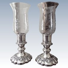 Pr. Ellis Barker Candle Holders With Hurricane Shades