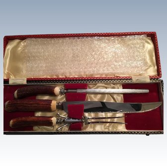 3 Pc. Horn Handle/Silverplated Carving Set