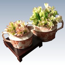 "Royal Crown Derby, ""Red Aves"" Sugar & Creamer"