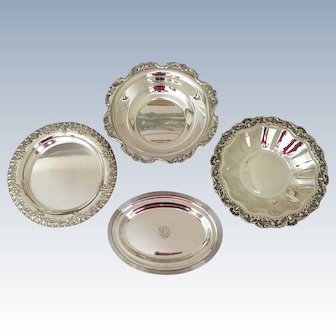 Collection Of 4 Silverplated Trays/Bowl