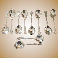 "Set Of !0 ""Kings"" Pattern Soup Spoons"