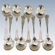 "Set Of 8 ""Kings"" Pattern Soup Spoons"