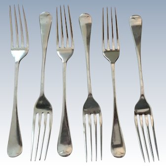 Set/6  John Sherwood & Sons Dinner Forks C:1880