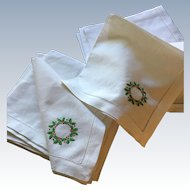 Set/12 Holiday Dinner Napkins (7 Sets Available)