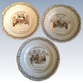 """Set/5 Gien """"The Real Cheese Lovers"""" 8"""" plates"""