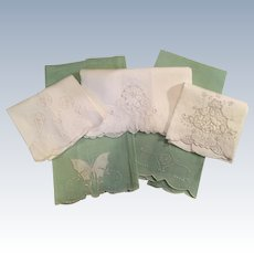 Set Of 5 Vintage Linen/Embroidery Guest towels