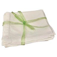Set/8 Vintage Hemstitched Linen Napkins