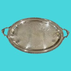 Ellis Barker Silver On Copper Waiter's Tray With Gadroon Border And Engraved Field C:1921-32