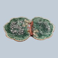 Mottahedeh Handled Majolica Double Leaf Tray C:1990