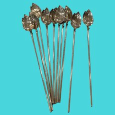 Tiffany Sterling Leaf Straw (10 Available)