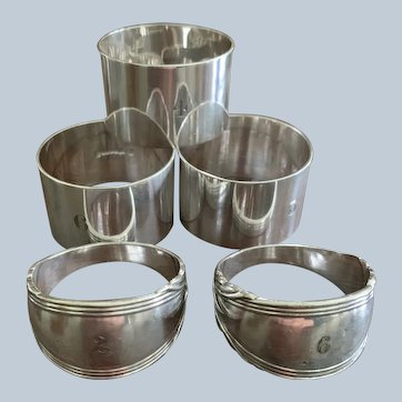 Collection Of 5 English Silverplated Napkin Rings