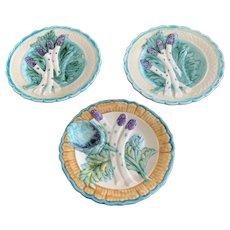 Set/3.FFAS Majolica Asparagus Plates