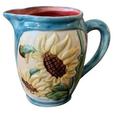 FFAS Majolica Sunflower Pitcher