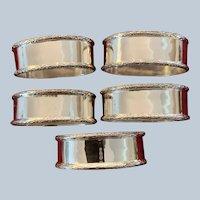 Set/5 Sterling Napkin Rings By Birks