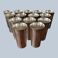 Silver On Copper Tumblers By Friedman Silver Co. C:1930 (14 Available)