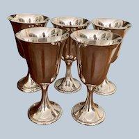 Set/5 Vintage Gorham Silver Plated Goblets