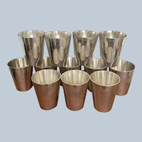 "Set/12 Silver On Copper Oversized Shots/Sipper Cups With Hand Engraved ""W"""