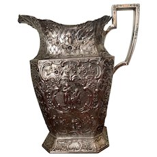EG Webster & Son Silver On Copper Pitcher