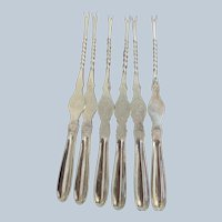 Set/6 Art-Krupp Berndorf Silver-plated Lobster Picks