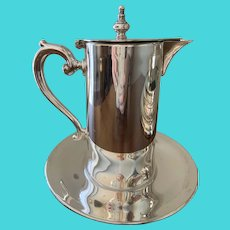 Silver-plated Syrup Pitcher With Attached Tray