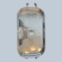 Silver Plated Handled Gallery Tray By Pilgrim Silver Co