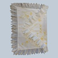 Antique English Hand Embroidered Linen And Eyelet Pillow Slip C:1920