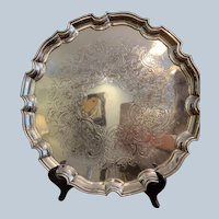 "Ellis Barker 14"" Silver On Copper Chip And Dale Border Round Tray"