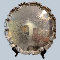 """Ellis Barker 14"""" Silver On Copper Chip And Dale Border Round Tray"""