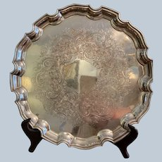 """Ellis Barker 12"""" Silver On Copper Chip And Dale Border Tray"""