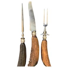 3 Piece Stag Handle Carving Set With Hand Engraved 'B' Tip