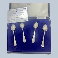 Queens Silver Jubilee Set/4 Spoons C:1977