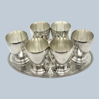 Set 6 Crescent Silver On Copper Spirit Cups