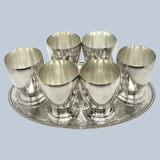 Set 6 Crescent Silver On Copper Spirit Cups