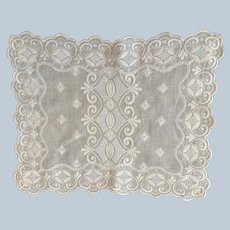 Vintage English Hand Embroidered Linen Tray Cloth C:1960