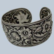 Sterling S. Kirk & Son 19F 'Repousse' Cuff Bracelet C:1948