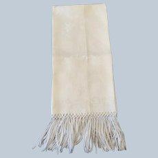 Damask Linen Show Towel W/ Hand Tied Fringe