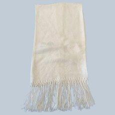 "20""x31"" Damask Linen Show Towel W/ Hand Tied Fringe C:1940"