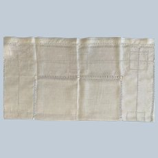 Handkerchief Linen Overlay W/ Drawn Work
