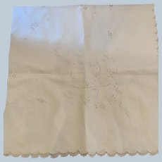50 x 50 Linen Tablecloth W/ Different Hand Embroidered Stitches C:1940