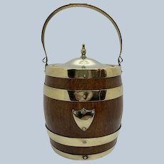 English Oak Biscuit Barrel C:1890