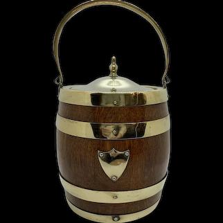 English Oak Biscuit Barrel C:1890