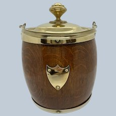 English Oak/Brass Biscuit Barrel C:1890
