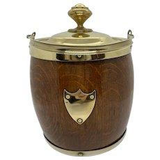 English Oak/Brass Biscuit Barrel C:1890