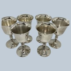 Set 6 Silverplated International Wine Goblets